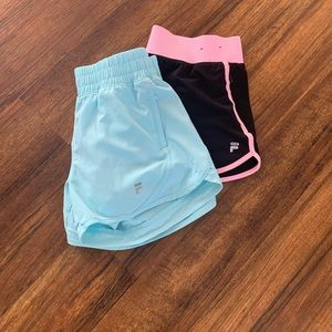 FILA ATHLETIC SHORTS 2 PAIRS BLACK-S BLUE-XS